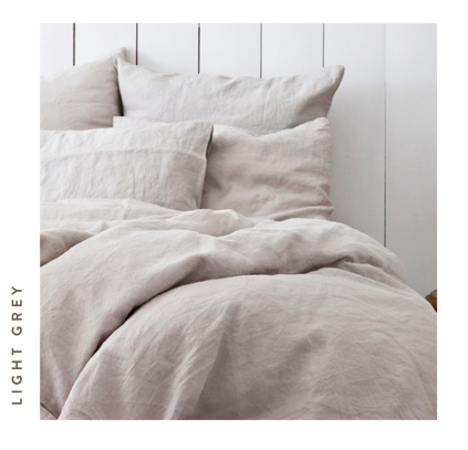 TELL ME MORE - PILLOWCASE - STONEWASHED LINEN - LIGHT GREY - 50x60 CM
