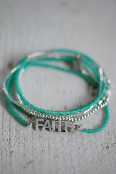 ICON - FAITH 6 WRAP SRETCH BRACELET - GREEN