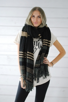 OTTOD´AME - BIG SHAWL - BLACK/GOLD/KHAKI