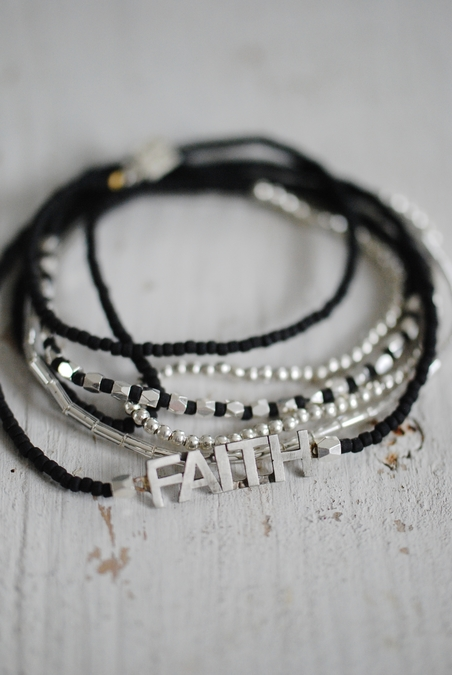 ICON - FAITH 6 WRAP SRETCH BRACELET - BLACK