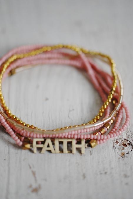 ICON - FAITH 6 WRAP SRETCH BRACELET - PINK