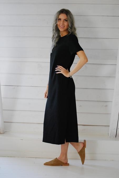 ALIX - LADY WOVEN DRESS - BLACK