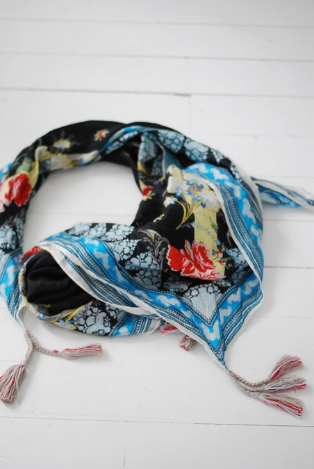 JOHNNY WAS - SILK SCARF - BLUE/BLACK