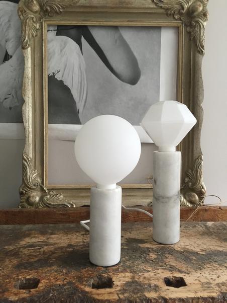 LAMP - WHITE MARBLE - 14 CM