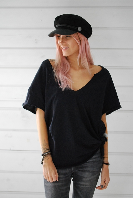 FREE PEOPLE - LILLY TEE - BLACK