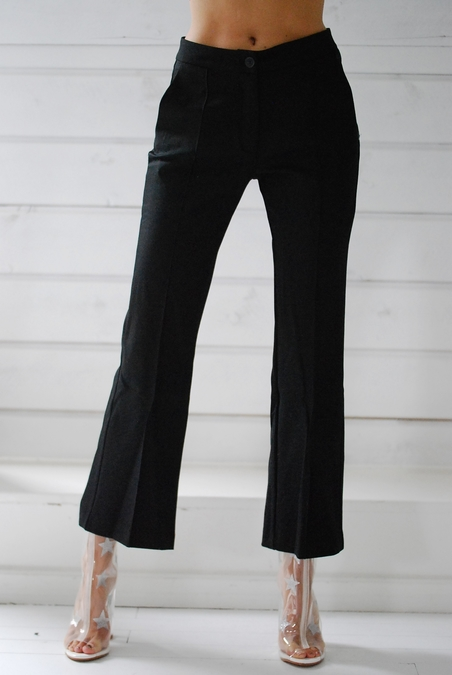 OTTOD´AME - BLACK TROUSERS - SHORT WIDE