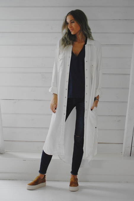 ONE TEASPOON - CLASSIC LONG SHIRT - WHITE