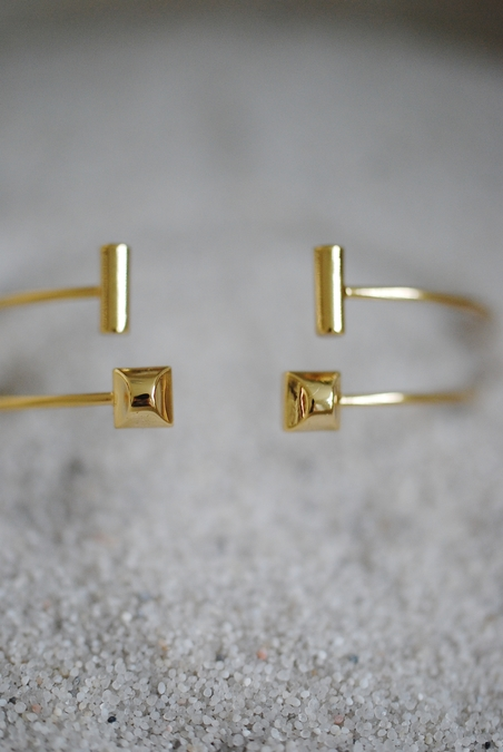 ORELIA - GEO OPEN BANGLE 2 PACK - PALE GOLD