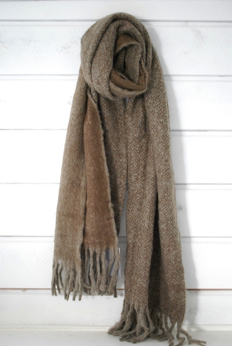 UNMADE - MELANGE FURRY SCARF - BROWN
