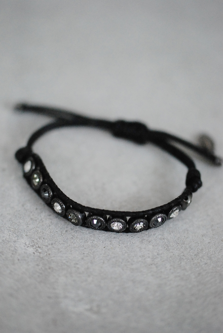 BRACELET - LEATHER/CHRYSAL - BLACK