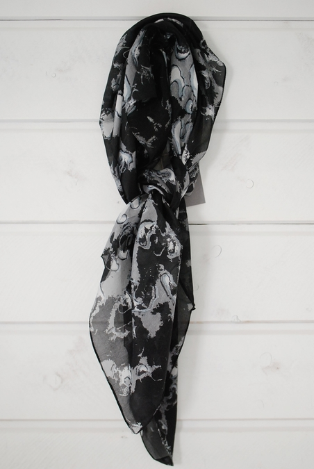 UNMADE - SILK LEOPARD SCARF - BLACK