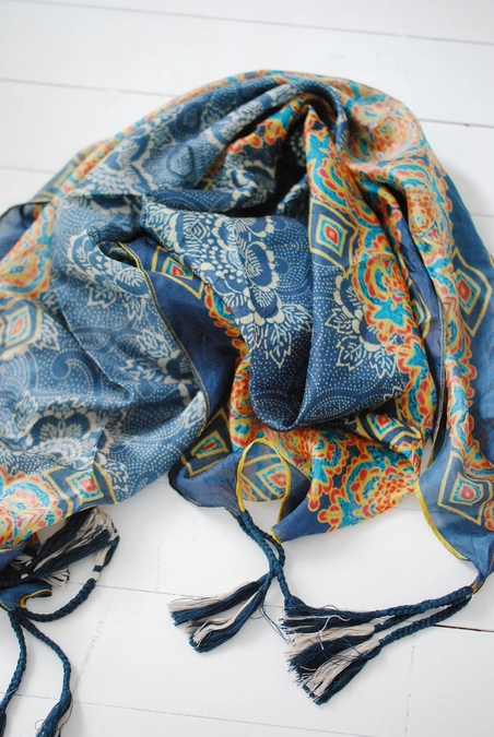 JOHNNY WAS - SILK SCARF - BLUE