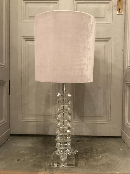LAMP SHADE - LIGHT GREY VELVET - LARGE