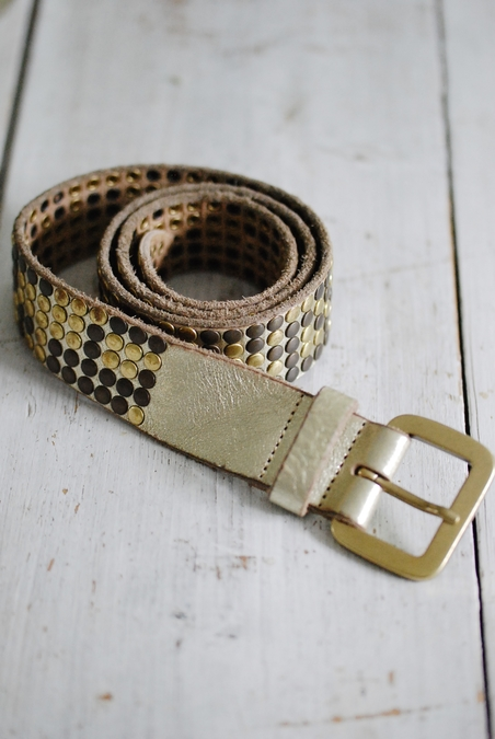 MINOROZONI - GOLD BELT WITH STUDS - 40 MM