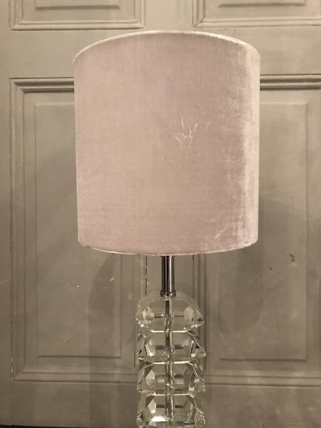 LAMP SHADE - LIGHT GREY VELVET - SMALL
