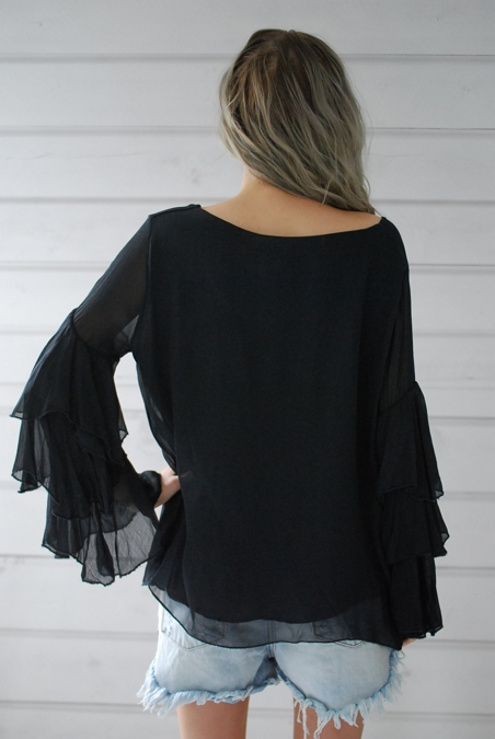 OOTD - FRILL TOP - CHARCOAL