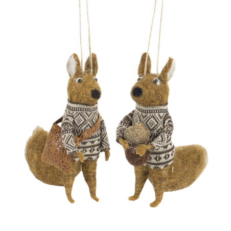 CHRISTMAS DECORATION - SQUIRRELS SET OF 2