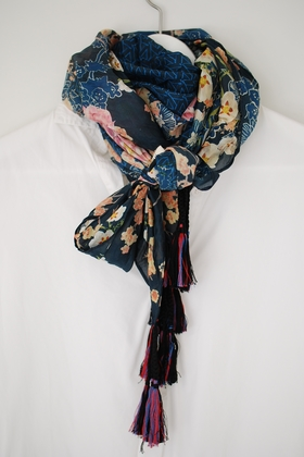 JOHNNY WAS -  SILK SCARF -   DARK BLUE