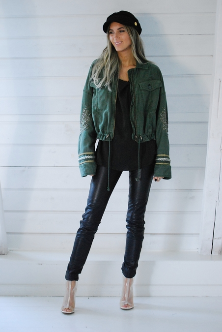 FREE PEOPLE - MILITARY JACKET - MOSS GREEN
